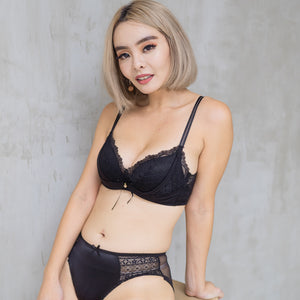Lacey Temptation Super Push Up Wireless Bra in Black Beauty