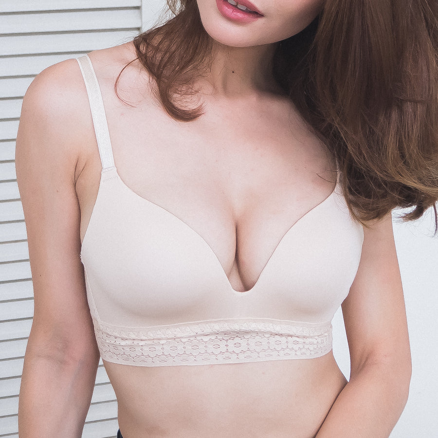 *RESTOCKED* No-Wire Everyday Ultra Comfort Lace Trim T-Shirt Bra V2.0 in Vanilla Nude