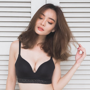 *RESTOCKED* No-Wire Everyday Ultra Comfort Lace Trim T-Shirt Bra V2.0 in Black Beauty