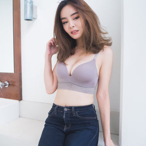 *RESTOCKED* No-Wire Everyday Ultra Comfort Lace Trim T-Shirt Bra V2.0 in Muted Grey