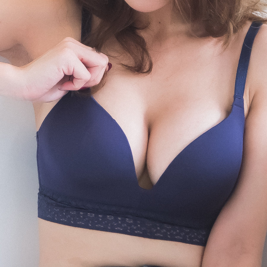 *RESTOCKED* No-Wire Everyday Ultra Comfort Lace Trim T-Shirt Bra V2.0 in Twilight Blue