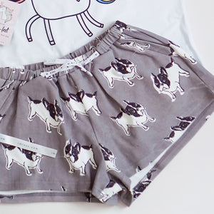 Frenchie The Bulldog in Muted Grey Lounge Shorts