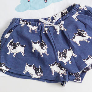 Frenchie The Bulldog in Muted Blue Lounge Shorts