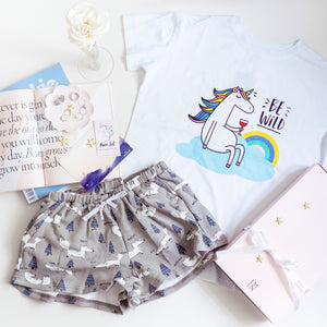 Be Wild Unicorn & Foxy In The Woods Gift Set (1 Tee + 1 Lounge Shorts)
