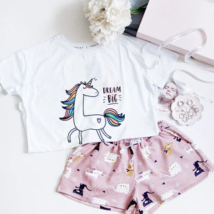 Dream Big Unicorn & Meowie The Cat Gift Set (1 Tee + 1 Lounge Shorts)