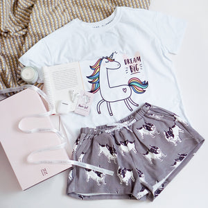 Dream Big Unicorn & Frenchie The Bulldog in Muted Grey Gift Set (1 Tee + 1 Lounge Shorts)