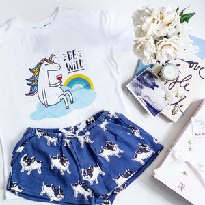 Be Wild Unicorn & Frenchie The Bulldog in Muted Blue Gift Set (1 Tee + 1 Lounge Shorts)