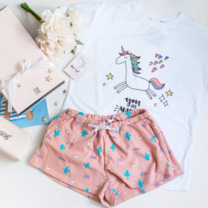 Dancing In The Moonlight Unicorn & Cacti Gift Set (1 Tee + 1 Lounge Shorts)