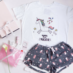 Dancing In The Moonlight Unicorn & Pepper The Cat Gift Set (1 Tee + 1 Lounge Shorts)