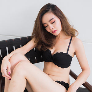 Dainty Black Wireless Push Up Bra