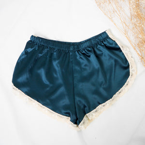 Silk Teddy Satin Shorts in Forest Green