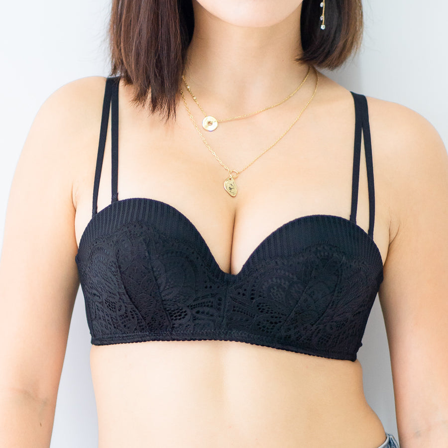 Sexy-Romance Multiway Wireless Super Push Up Bra in Black (Size L & XL only)