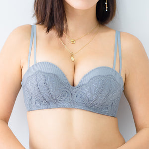 Sexy-Romance Multiway Wireless Super Push Up Bra in Dusty Blue