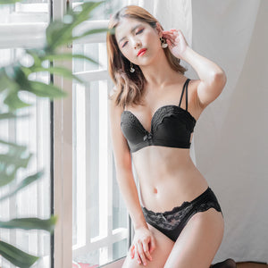The Lacey Back Bloom Push Up Wireless Bra in Black (Size M & L Only)