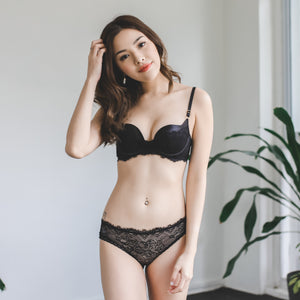 Soulmate Push Up Bra in Metallic Black (Size L only)