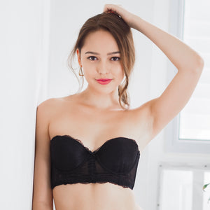 OH-SO-SEXY! 2-WAY PUSH UP BANDEAU STRAPLESS BRA IN VANILLA BLACK