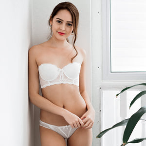 OH-SO-SEXY! 2-WAY PUSH UP BANDEAU STRAPLESS BRA IN VANILLA WHITE