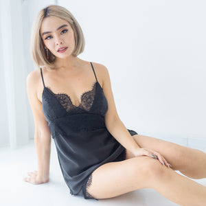 Satin Romance Sleepwear Set in Black