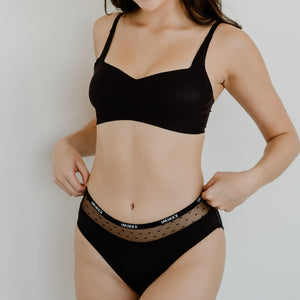 *BACKORDER OPEN* Air-ee Seamless Bra in Black - Square Neck (Superfine Cotton)