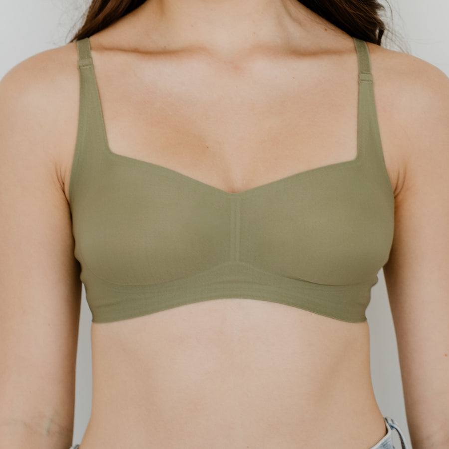*BACKORDER OPEN* Air-ee Seamless Bra in Sage - Square Neck (Superfine Cotton)