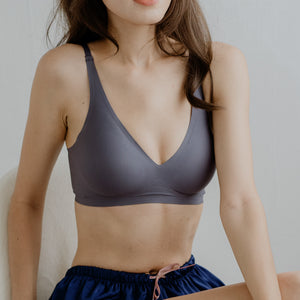 Air-ee Seamless Bra in Dark Grey - V-Neck (Superfine Cotton)