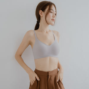 *RESTOCKED* Air-ee Seamless Bra in Ash - Thin Straps (Superfine Cotton)