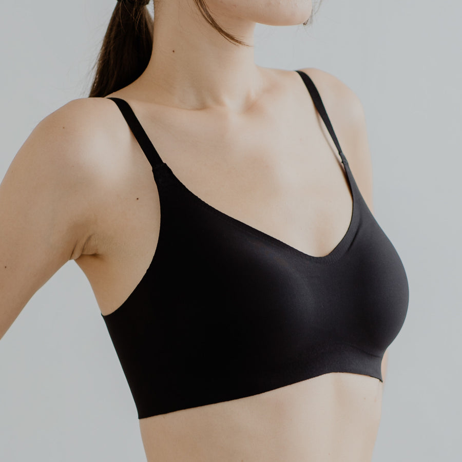 *RESTOCKED* Air-ee Seamless Bra in Black - Thin Straps (Superfine Cotton)