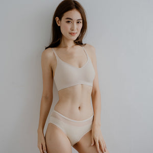 *RESTOCKED* Air-ee Seamless Bra in Nude - Thin Straps (Superfine Cotton)
