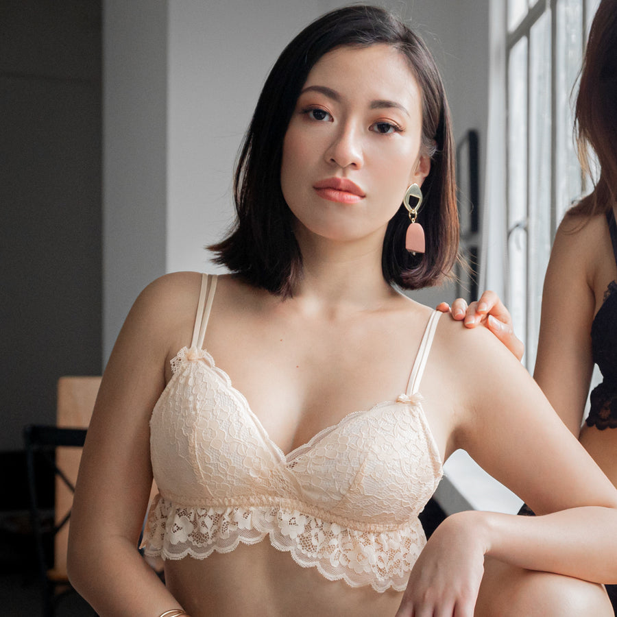 Irresistibly Cosy Lightly-Lined Midi Wireless Bra in Nude