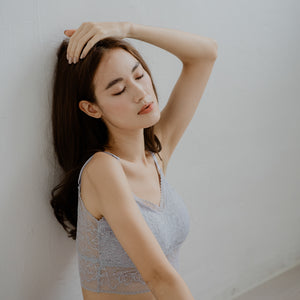Lace Accent Bralette in Bluish Grey