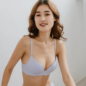 *PREORDER* OOMPH! Velvet-Matte Teardrop 2-Way Wireless Push Up Bra in Lilac