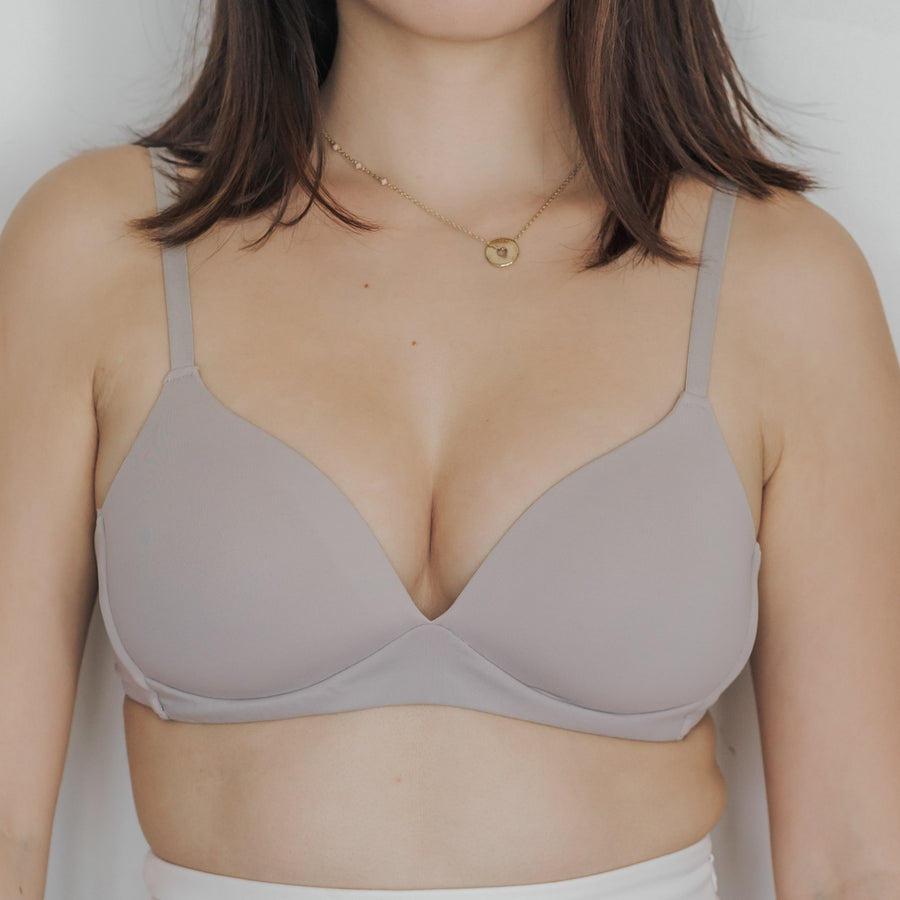 Basic Cotton Freedom Wireless Bra in Ash