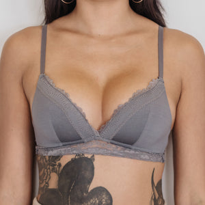Basic Lace Freedom Wireless Bra (Modal® Fabric) in Charcoal
