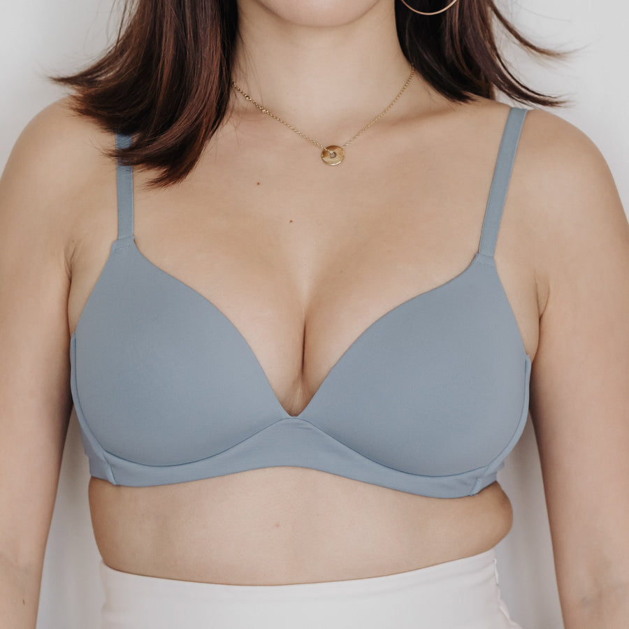 Basic Cotton Freedom Wireless Bra in Blue