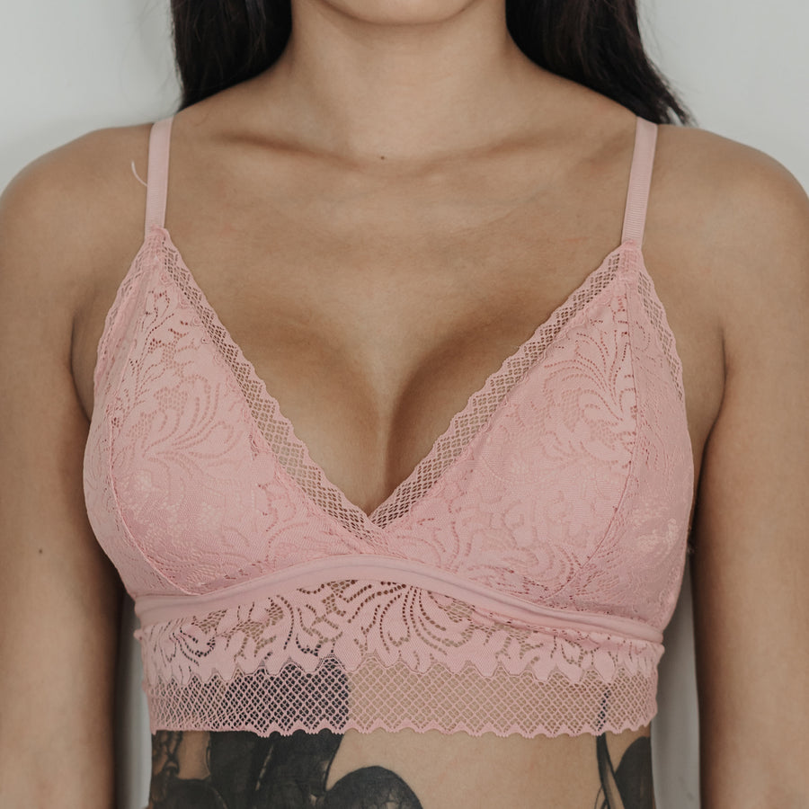 Crushing On Lace Midi Bralette in Pink