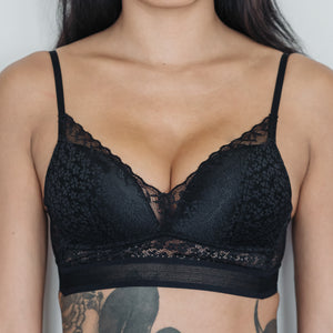 Essential Chic Low-Back Midi Wireless Bra in Black