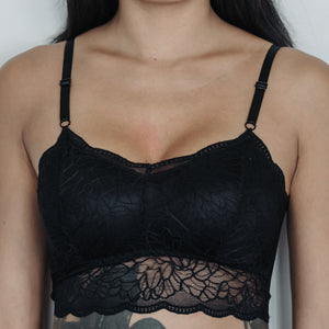 Essential Chic Sexy-Back Midi Bralette in Black