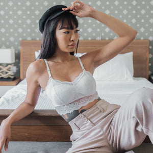 Essential Chic Sexy-Back Midi Bralette in White