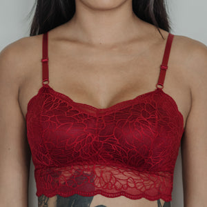 Essential Chic Sexy-Back Midi Bralette in Wine