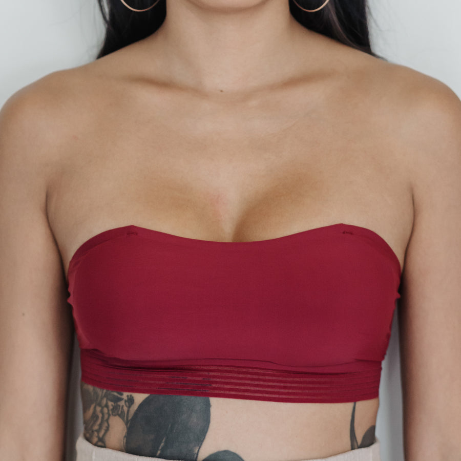Essential Stylish Chic 2-Way Wireless Bandeau in Wine