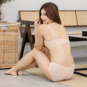 Sweet Lacey Indulgence! Push Wireless Bra in Warm Nude