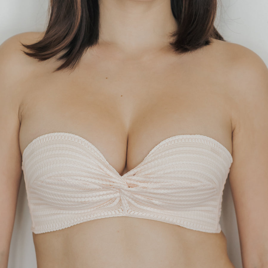 Twisted Knot! Non-Slip Strapless Push Up Bra in Light Nude