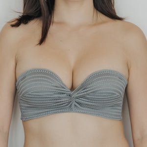 Twisted Knot! Non-Slip Strapless Push Up Bra in Grey