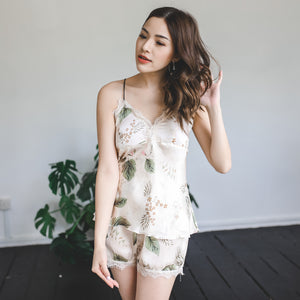 Marshmallow Cream Satin Sleepwear Set