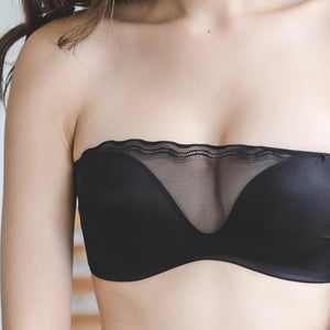 Feelin' Cheeky Push Up Wireless Bandeau Bra in Black