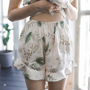 Marshmallow Cream Ruffled Satin Sleepwear Set