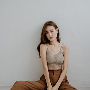 Lace Accent Bralette in Camel