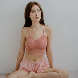 Lace Accent Bralette in Coral