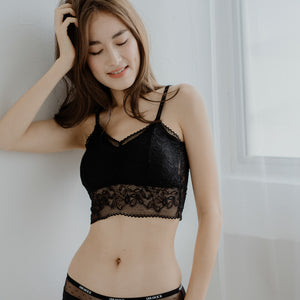 Lace Accent Midi Bralette in Black