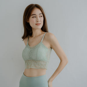 Lace Accent Bralette in Mint